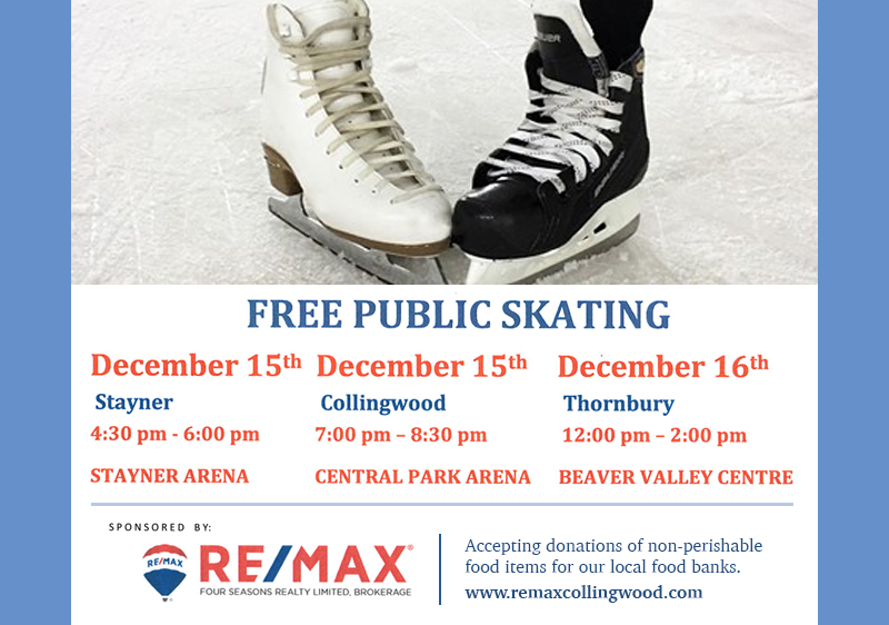 December 15 – Enjoy a Free Skate and a Yuletide Blast When You Visit Stayner This Weekend